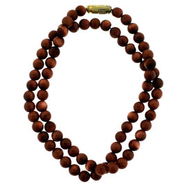Vintage Brown Golden Bead Strand Necklace