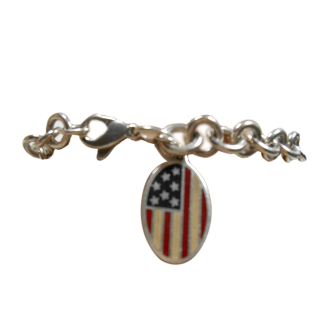 "Image of ""Tiffany & Co. Enamel American Flag Charm Sterling Silver Bracelet"""