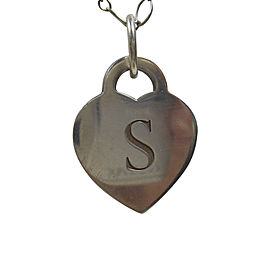 Tiffany & Co. 925 Sterling Silver Alphabet Letter 'S' Pendant Vintage Necklace