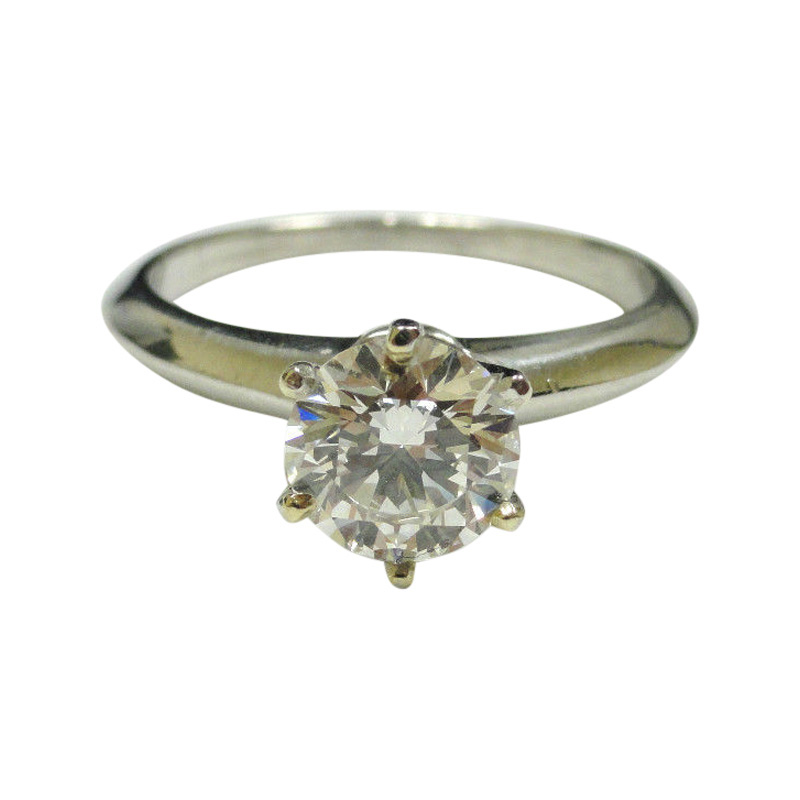 "Image of ""Tiffany & Co. Platinum Round Diamond Solitaire Engagement Ring"""