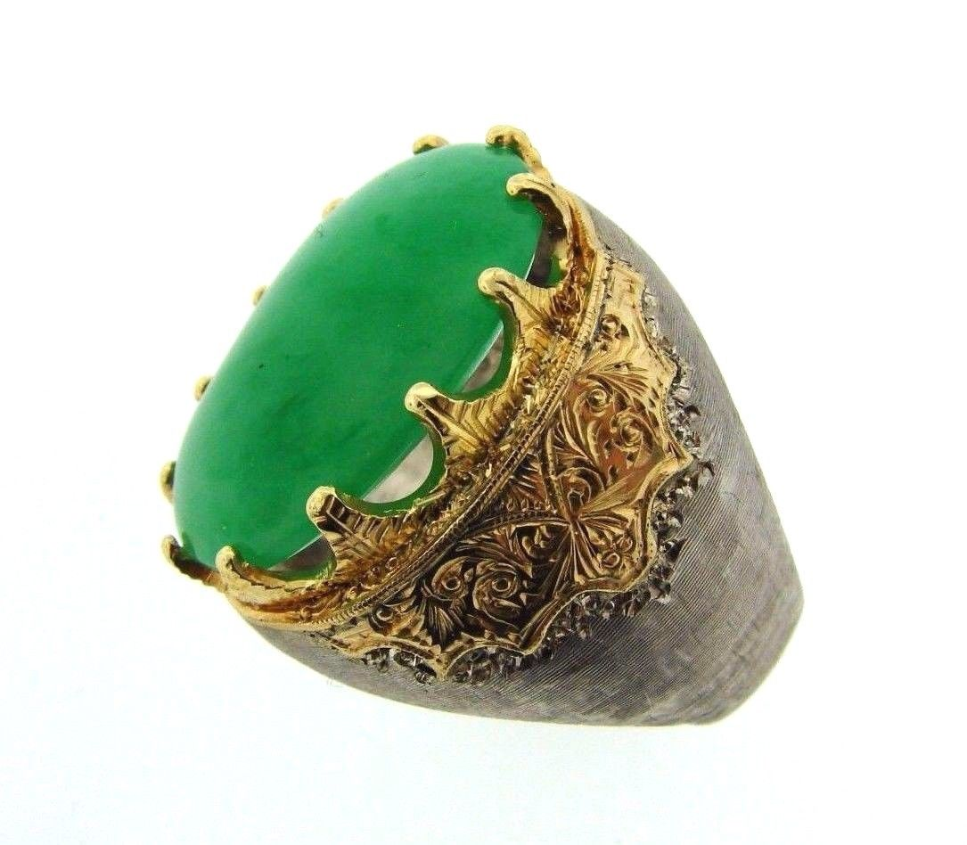 "Image of ""Buccellati 18K Yellow Gold 925 Sterling Silver Jade Ring"""