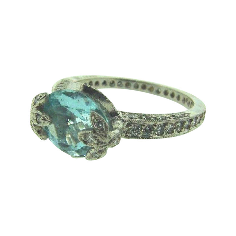 "Image of ""Cathy Waterman Platinum Diamond & Aquamarine Ring"""