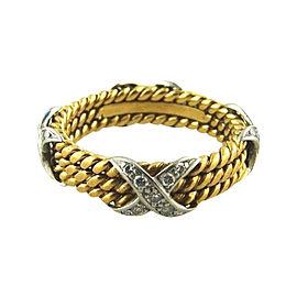 Tiffany & Co. schlumberger 18K Yellow Gold Diamond X Band Ring