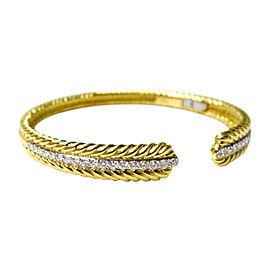 David Yurman 18K Yellow Gold and Diamond Classic Cable Cuff Bracelet