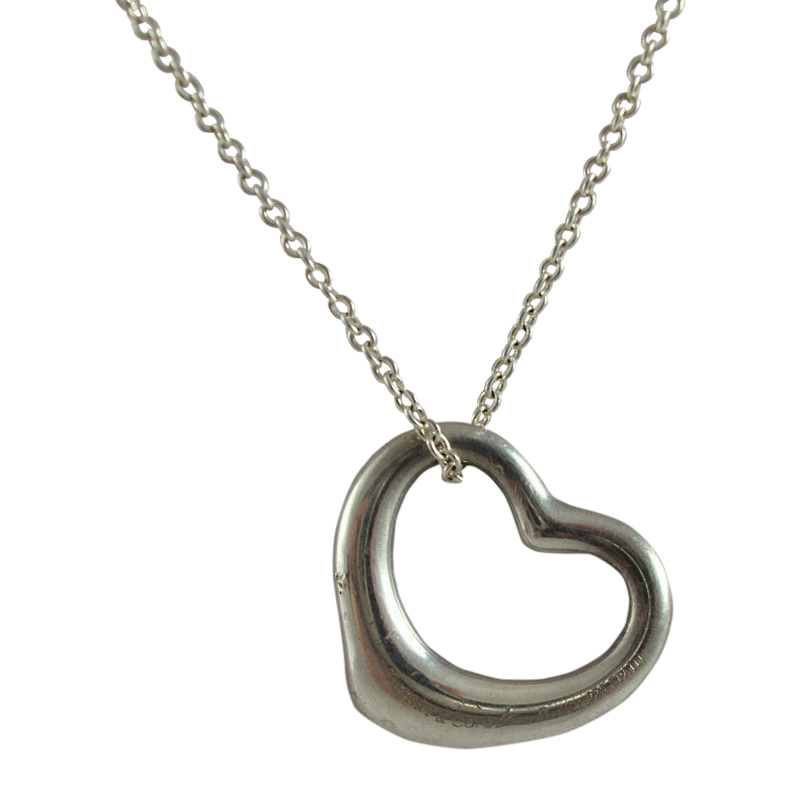 "Image of ""Tiffany & Co. 925 Sterling Silver Peretti Small Open Heart Pendant"""