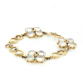 Tiffany & Co. 14K Yellow Gold Moonstone and Sapphires Retro Bracelet