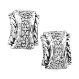 John Hardy Nuansa Sterling Silver and 18K Yellow Gold Paved 0.33 Ct Diamond Earrings