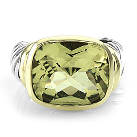 David Yurman Noblesse Sterling Silver & 14K Yellow Gold Lemon Quartz Ring Size 6.75