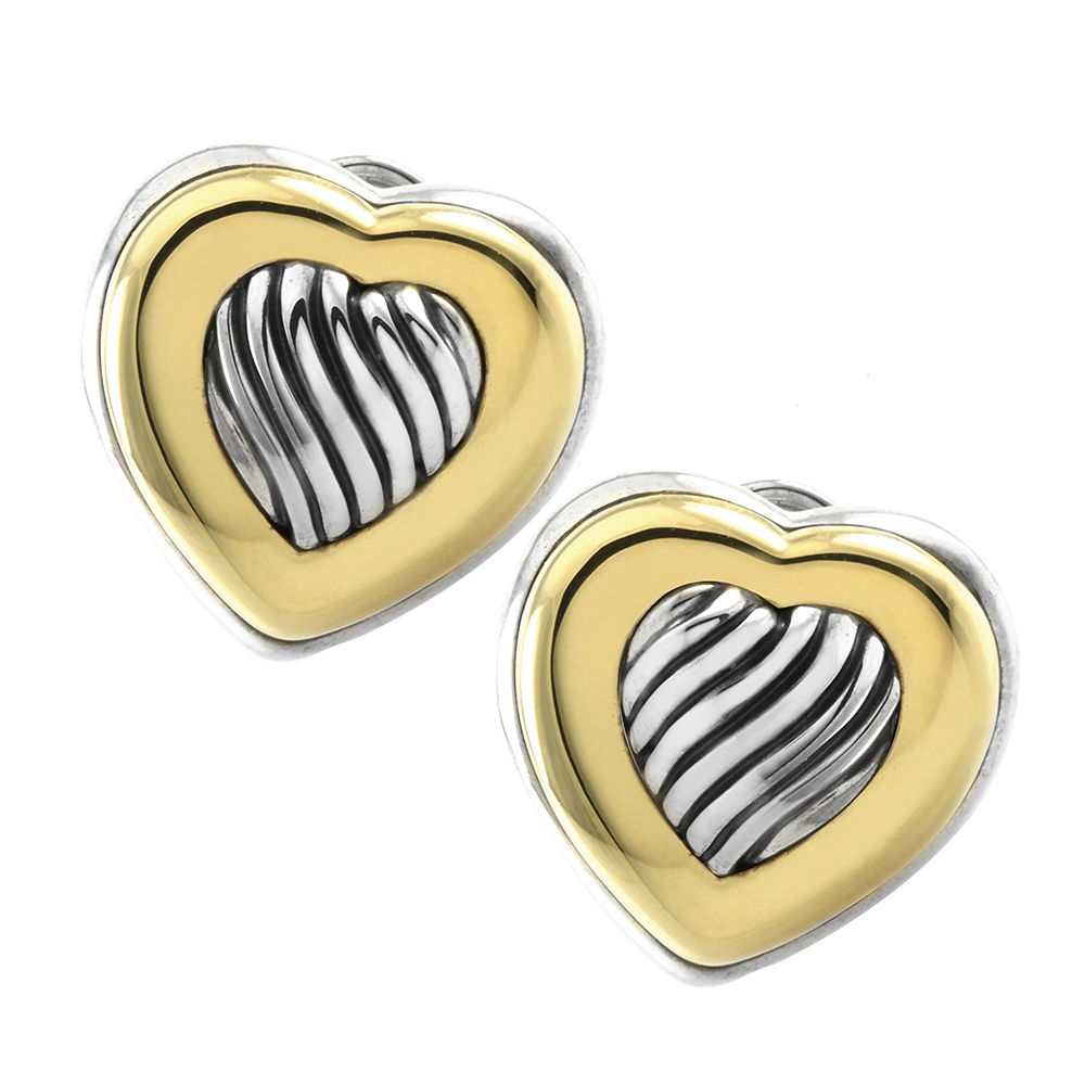 """""""""""David Yurman Sterling Silver & 18K Yellow Gold Cable Heart Button"""""""""""" 1138843"""