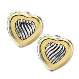 David Yurman Sterling Silver & 18K Yellow Gold Cable Heart Button Earrings