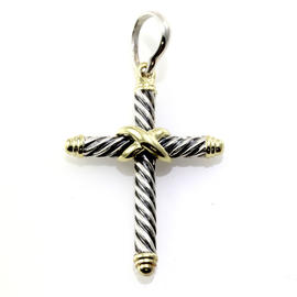 David Yurman Sterling Silver & 14K Yellow Gold Cable Classic Cross Pendant