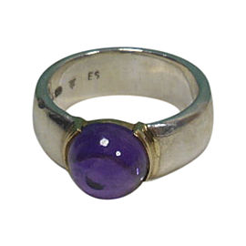 Tiffany & Co. 925 Sterling Silver Amethyst Cabochon Gold Wide Band Ring Size 5