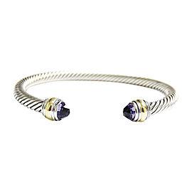 David Yurman Silver/14K Yellow Gold 5mm Amethyst Cable Classic Cuff Bracelet