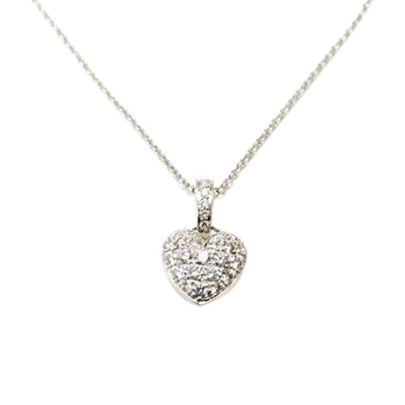 "Image of ""Tiffany and Co. Platinum Heart Pave Diamond Pendant Necklace 0.35 CT"""