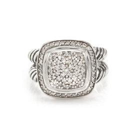 David Yurman 925 Sterling Silver Albion Diamond Ring Size 7.5