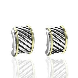 David Yurman Sterling Silver & 14K Yellow Gold Cable Classics Earrings