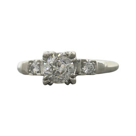 Platinum & 0.93ctw Diamond Engagement Ring