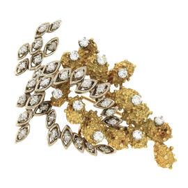 18K Two Tone Yellow & White Gold Diamond Brooch Pin
