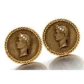 14K Yellow Gold 585 Julius Caesar Cameo Portrait Diamond Cufflinks
