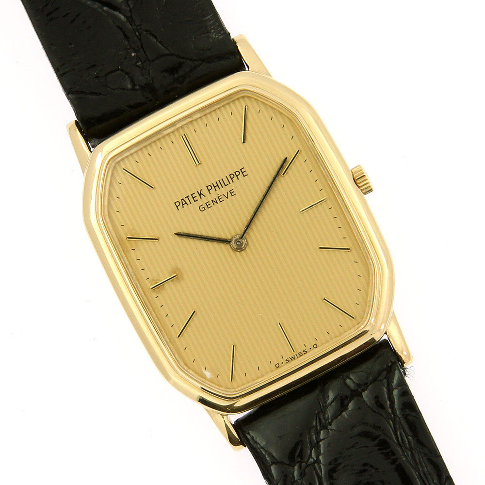 Patek Philippe 3760 18K Yellow Gold & Leather Manual Mens Watch