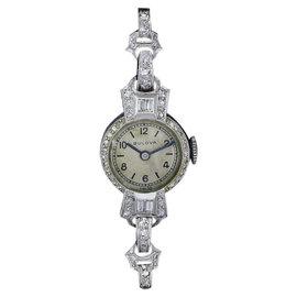 Bulova Platinum & 2ct Diamond Vintage 16mm Womens Watch 1920-1929