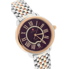 Michele Serein MW21B00L4033 Stainless Steel and 18K Rose Gold Purple Diamond Dial 36mm Watch