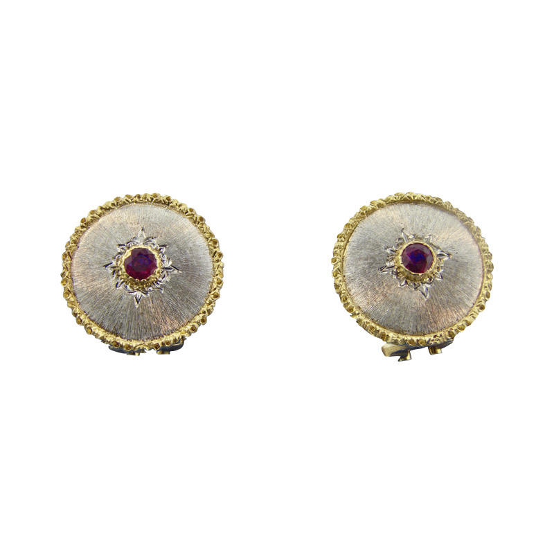 """Image of """"Buccellati 18K Yellow and White Gold 0.20 Ct Ruby Earrings"""""""
