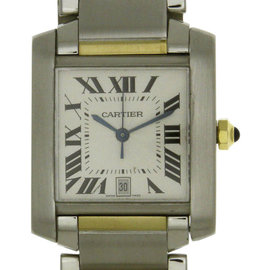 Cartier Tank Francaise 2303 Stainless Steel & 18K Yellow Gold Automatic 25mm Mens Watch