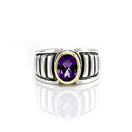 Lagos Caviar Sterling Silver and 18K Yellow Gold 1.47 Ct Amethyst Ring Size 6.5