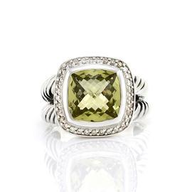 David Yurman 925 Sterling Silver Albion Peridot & Diamond Ring Size 8
