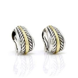 David Yurman Sterling Silver 18K Yellow Gold Cable Earrings
