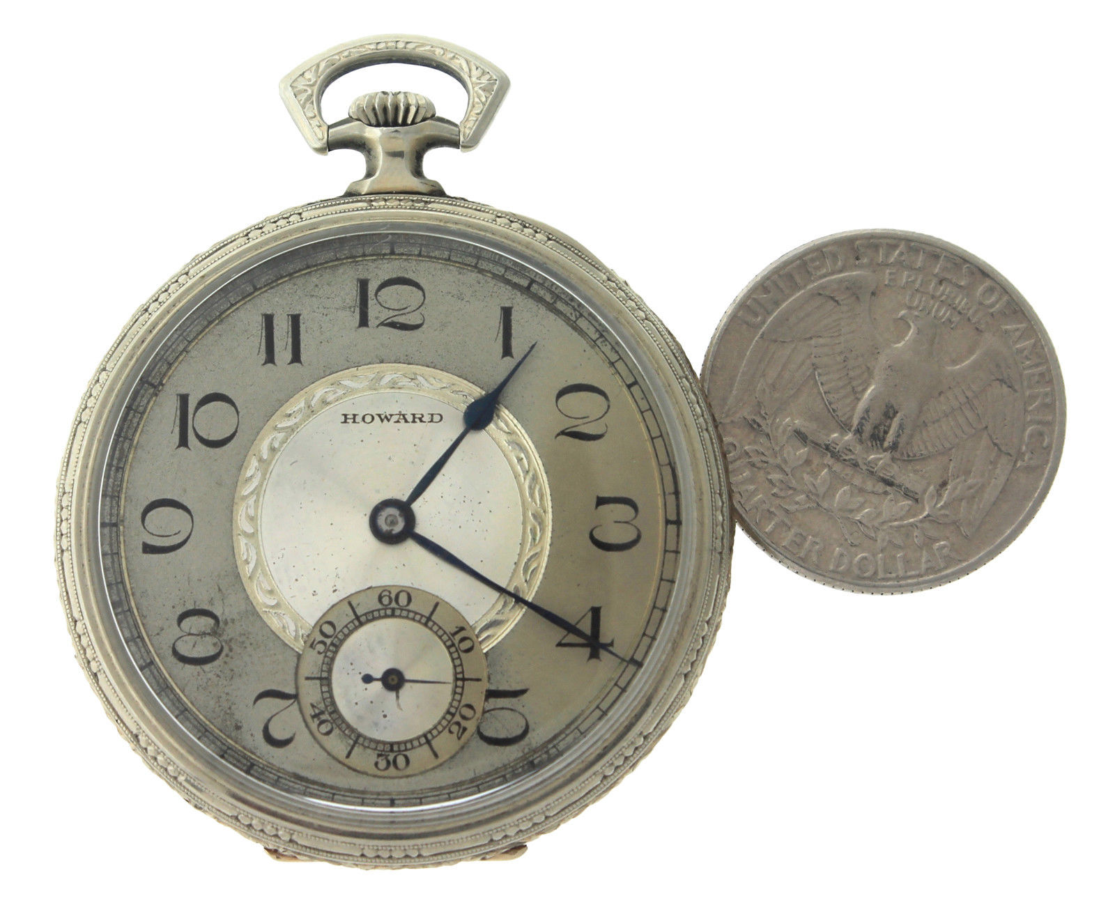 "Image of ""Howard & Co. 14K White Gold Vintage 44mm Unisex Pocket Watch"""