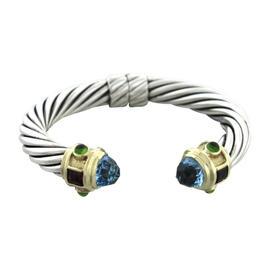 David Yurman Sterling Silver 14K Gold Aquamarine Cable Renaissance Bracelet