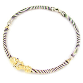 David Yurman Cable Sterling Silver and 14K Yellow Gold Choker Necklace