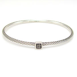 David Yurman 925 Sterling Silver Black Diamond Confetti Cable Bangle Bracelet