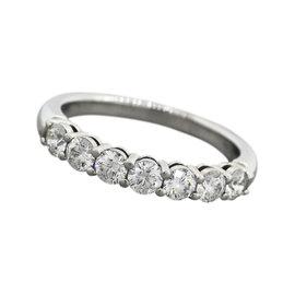Tiffany & Co. Platinum Diamond Band Ring Size 7.75