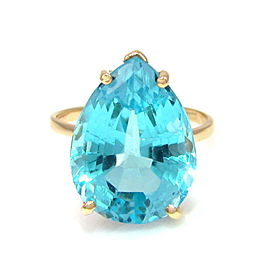 14k Yellow Gold Pear Cut Sky Blue Topaz Solitaire Ring Size 5.75
