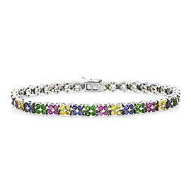 LeVian 18K White Gold Rainbow Sapphire Tennis Bracelet
