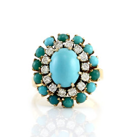 18K Yellow Gold Turquoise and Diamond Halo Ring Size 4.25