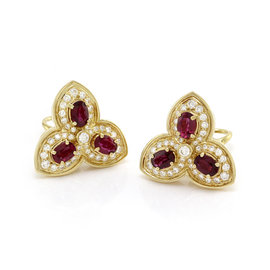 Hammerman Brothers 18K Yellow Gold Ruby & Pavé Diamond Trefoil Earrings
