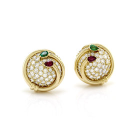 Hammerman Brothers 18k Yellow Gold Multi-Gem Button Earrings