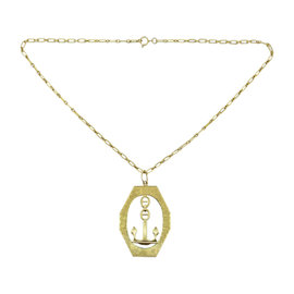 Buccellati 18K Yellow Gold Anchor Charm Pendant On 14K Gold Chain Link Necklace