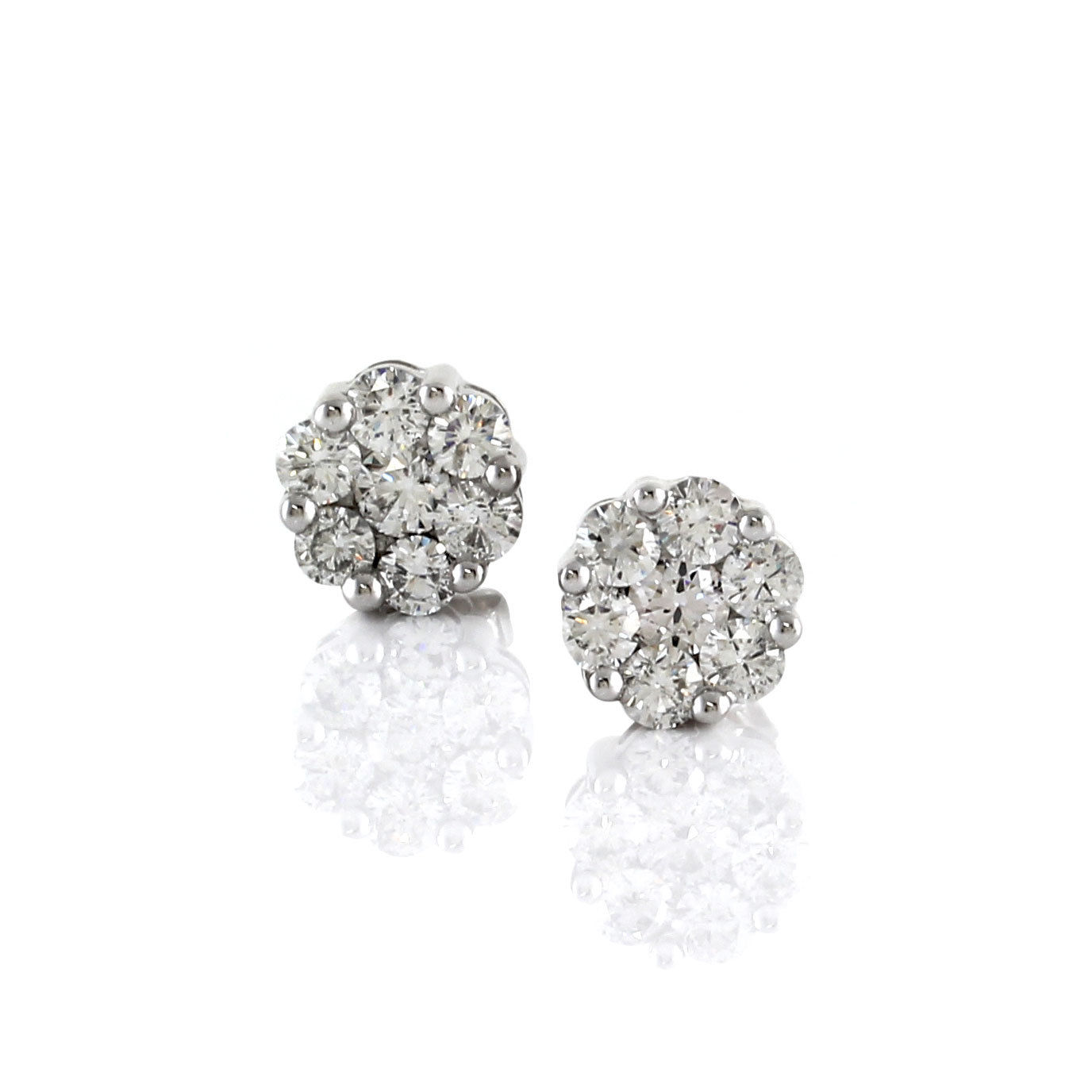 "Image of ""14K White Gold 1.88ct. Diamond Cluster Earrings"""