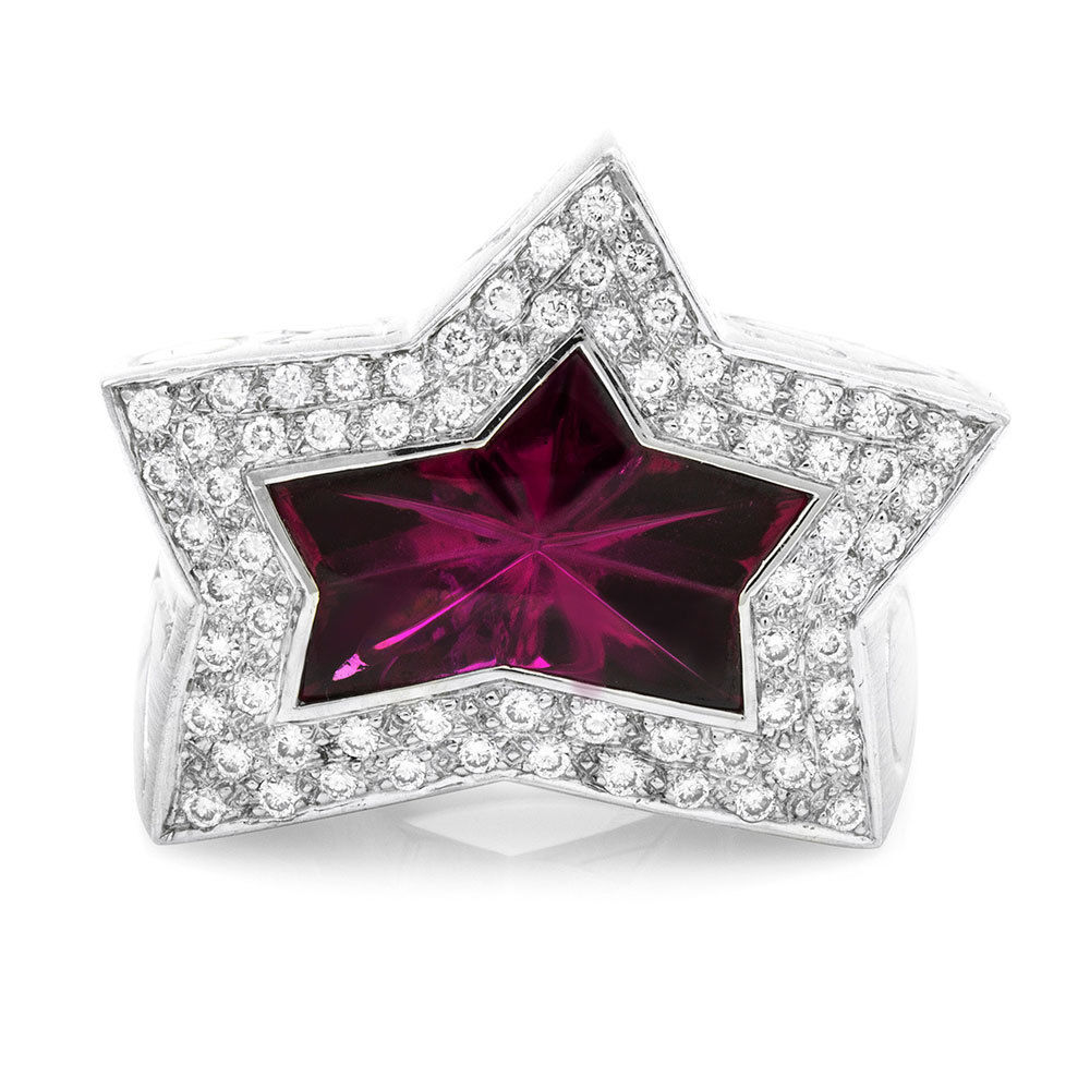"Image of ""Stephen Webster 18K White Gold Rubellite Star & Pave Diamond Ring Size"""