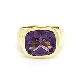 David Yurman 18K Yellow Gold Amethyst Noblesse Collection Ring Size 6.5
