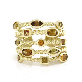 David Yurman 18k Yellow Gold Confetti Collection Citrine 5 Row Ring Size 6