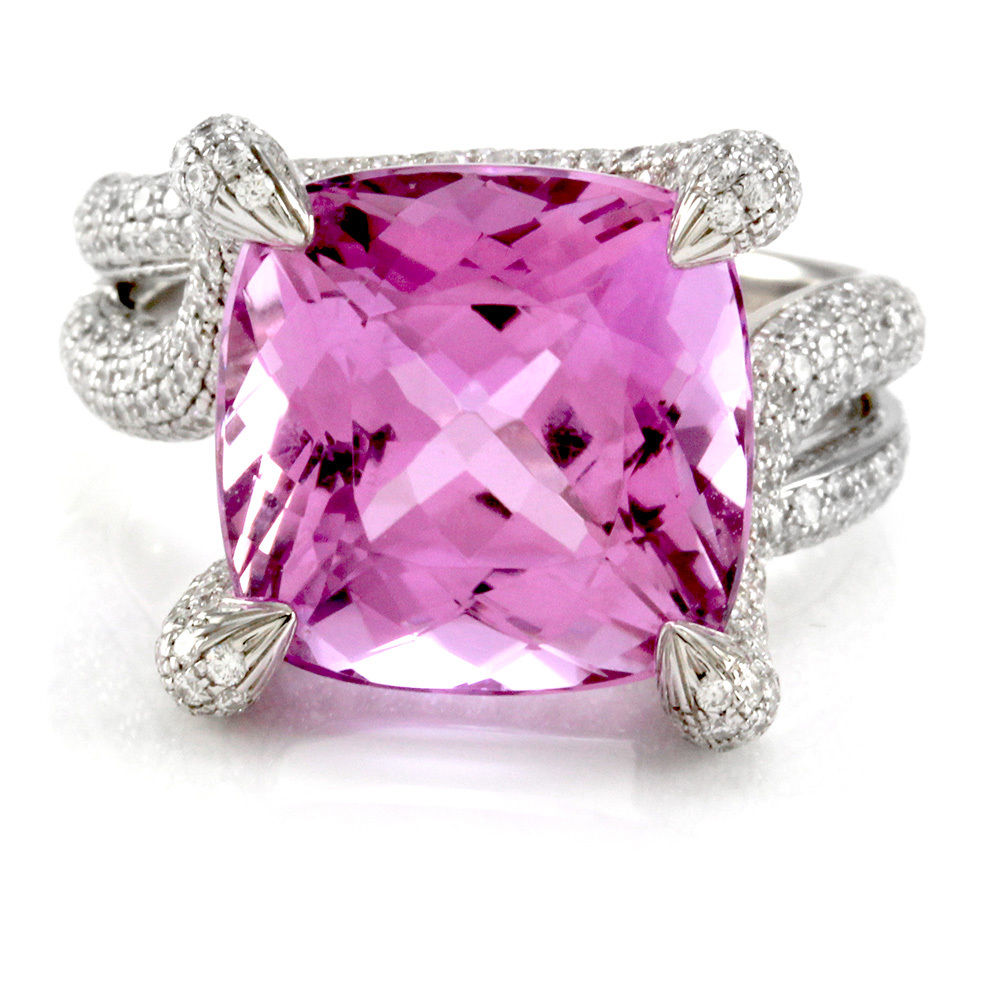 "Image of ""Simon G. 18K White Gold Kunzite & Pave Diamond Ring Size 8.75"""
