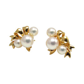 Mikimoto 18K Yellow Gold & Pink Rose Pearl Cluster Ribbon Stud Earrings