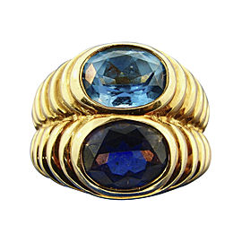 Bulgari 18K Yellow Gold Iolite and Blue Topaz Doppio Toi et Moi Double Ring Size 5.75