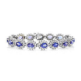14K White Gold Tanzanite & 6.24ct. Diamond Halo Bracelet